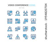 video conference icons. vector... | Shutterstock .eps vector #1954820704