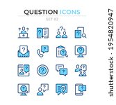 question icons. vector line... | Shutterstock .eps vector #1954820947
