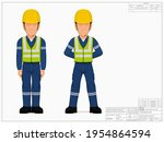 two industrial workers in the... | Shutterstock .eps vector #1954864594