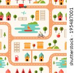 city map seamless background... | Shutterstock .eps vector #195487001