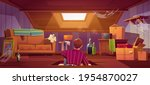 man climb on attic by ladder...   Shutterstock .eps vector #1954870027