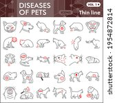 diseases of pets thin line icon ... | Shutterstock .eps vector #1954872814