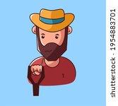 farmer logo design with a fork | Shutterstock .eps vector #1954883701
