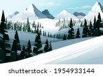 horizontal winter mountain... | Shutterstock .eps vector #1954933144