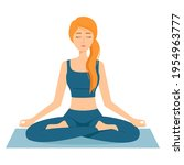 meditating woman. girl in lotus ...   Shutterstock .eps vector #1954963777