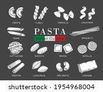 types italian pasta or macaroni ... | Shutterstock .eps vector #1954968004