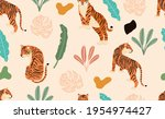 safari background with tiger... | Shutterstock .eps vector #1954974427