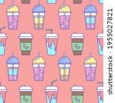 coffee takeaway drink seamless... | Shutterstock .eps vector #1955027821