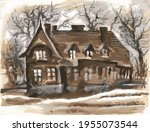 an old mansion on a background... | Shutterstock .eps vector #1955073544