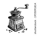 coffee grinder with beans... | Shutterstock .eps vector #1955091814