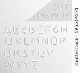 paper cut alphabet set.... | Shutterstock .eps vector #195514271