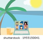 hybrid workplace with employees ... | Shutterstock .eps vector #1955150041