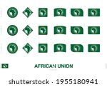 african union flag set  simple... | Shutterstock .eps vector #1955180941