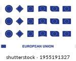 european union flag set  simple ... | Shutterstock .eps vector #1955191327