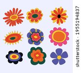collection of hippie flowers.... | Shutterstock .eps vector #1955194837