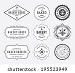 Black Bakery Badges On White...