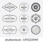 Black Bakery Badges On White...