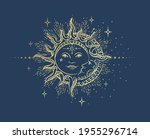 antique style sun and crescent...   Shutterstock .eps vector #1955296714