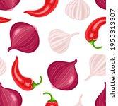 cartoon onions  garlic  red... | Shutterstock .eps vector #1955313307