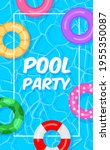 pool party template banner.... | Shutterstock .eps vector #1955350087