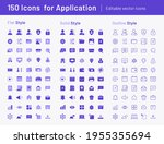 150 icon for application   flat ...