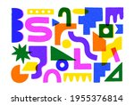 big set of colorful geometric...   Shutterstock .eps vector #1955376814