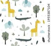 hand drawing safari animals... | Shutterstock .eps vector #1955387104