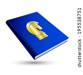 blue strategy book with gold...