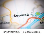 sowood on a geographical map of ... | Shutterstock . vector #1955393011