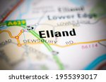 elland on a geographical map of ... | Shutterstock . vector #1955393017
