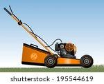 Lawn Mower. Orange Lawn Mower...
