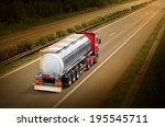 motion blurred tanker truck on... | Shutterstock . vector #195545711