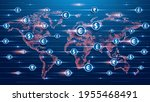 blue futuristic background.... | Shutterstock .eps vector #1955468491