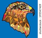 eagle  head in geometric pattern | Shutterstock .eps vector #195547409