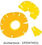 pineapple slices drawn in... | Shutterstock .eps vector #1955474521