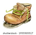 Watercolor Old Leather Shoe...