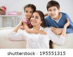 happy mother with her little... | Shutterstock . vector #195551315