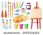 artist tools  brushes  palette  ... | Shutterstock .eps vector #1955518201