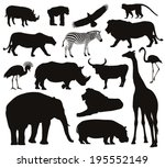 Stock vector animal vectors collection of silhouettes 195552149