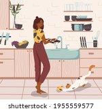 young woman standing near sink... | Shutterstock .eps vector #1955559577