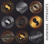 paraguay business metal stamps. ... | Shutterstock .eps vector #1955616571