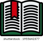 icon of open book with bookmark....