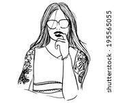 fashion tattoo girl | Shutterstock .eps vector #195565055