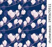 magnolia flower vector seamless ... | Shutterstock .eps vector #1955670511