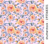 roses seamless pattern on a... | Shutterstock . vector #195568301