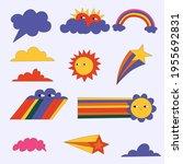vector set of weather stickers. ... | Shutterstock .eps vector #1955692831