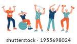 elderly senior active people... | Shutterstock .eps vector #1955698024