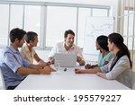 attractive businessman speaking ... | Shutterstock . vector #195579227