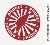 rhodes stamp. travel red rubber ... | Shutterstock .eps vector #1955816257