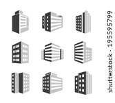 buildings icons 3d isolated on... | Shutterstock . vector #195595799